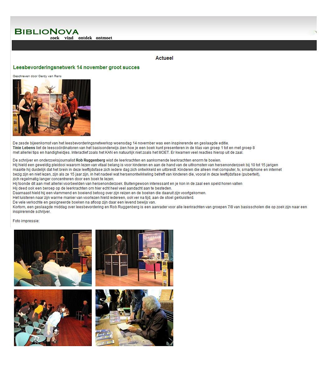 Verslag lezing bij BiblioNova