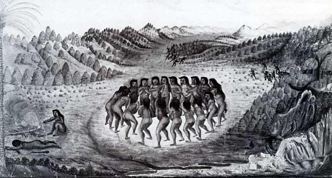 Krijgsdans van de Tapoeyers. Deze tekening is gemaakt door Zacherias ...